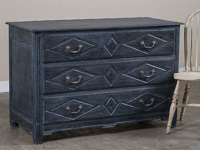 Antique French Louis XVI Black Limed Oak Chest of Drawers France circa 1790
