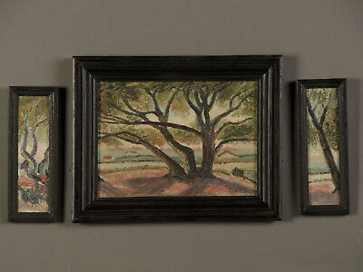 Vintage French Oil Painting Triptych, Signed, France circa 1930