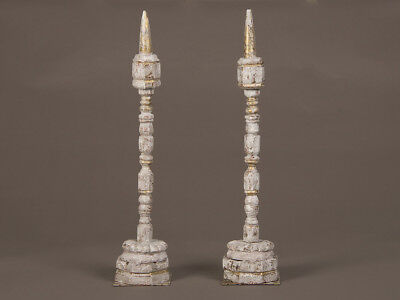 Pair Antique French Carved, Painted Tall Spindles for Wool, circa 1875