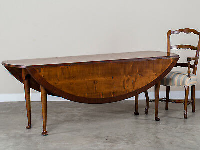 English Bespoke Cherrywood Drop Leaf Dining Table with Pad Foot Legs