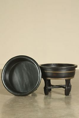 Pair of Large Antique Chinese Black Lacquered Wooden Basins, China circa 1875