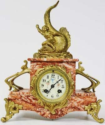 Antique French Red Marble Gilt Metal Ornate Figural 8 Day Striking Mantel Clock