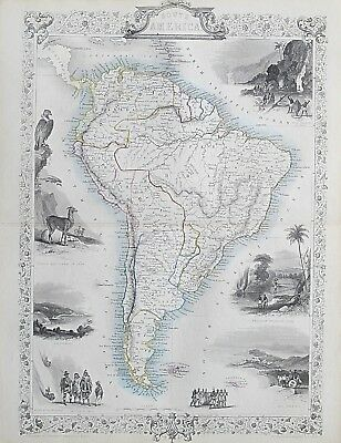 c1854 SOUTH AMERICA Genuine Antique Map by Rapkin Outline Hand Colouring