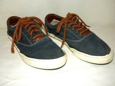 42557f3f Tommy Hilfiger NYC Blue with Brown Canvas Boat Deck Lace Shoes Men's Size 8  EUC