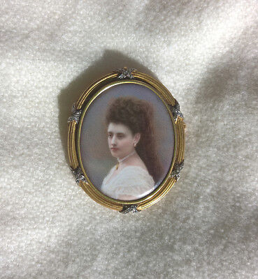 Antique Exceptional High Quality Miniature Portrait Painting Jewel Frame