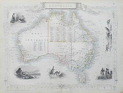 c1854 AUSTRALIA Genuine Antique Map by Rapkin Original Outline Hand Colouring