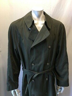 London Fog Men's Green Water Resistant Long Trench Coat Removable Liner Size 42