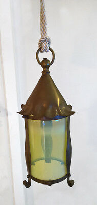 Antique Arts Crafts Brass Vaseline Opalescent Lamp Glass Light Lantern