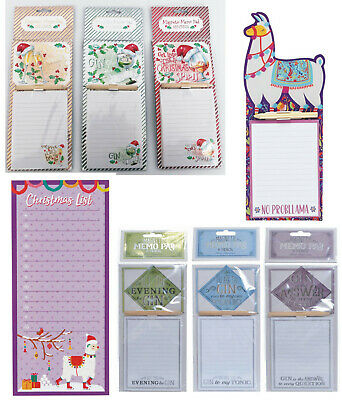 Magnetic Memo Pad Fridge Magnet Notes Board Cocktail Gin Shopping List