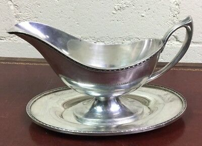 Derby Silver Co Plated Gravy Boat & Tray 5128 Classic Pre WWII UK
