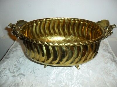Vintage Large Hammered Brass Footed Fancy Centerpiece W Grapes On Handles - Euc