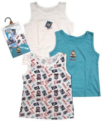Boys PACK OF 3 Thomas the Tank Engine Train Cotton Vests 1.5 to 6 Years
