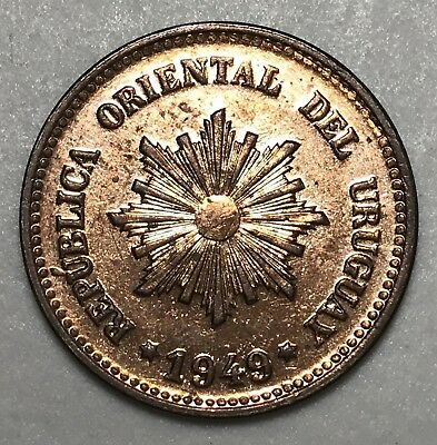 1949S Uruguay 2 Centesimos world foreign coin Excellent condition
