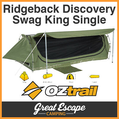 OZtrail Ridgeback Discovery Swag King Single Khaki Dome 400gsm Ripstop Canvas
