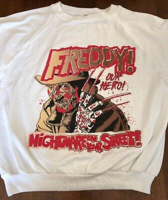 VTG Freddy Krueger Raglan Sweatshirt Nightmare On Elm Street 80's Orig Horror L