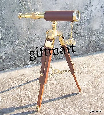 Brass Nautical Leather Telescope - Decor & Working With Tripod Stand