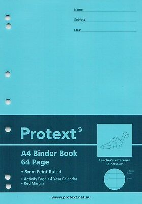 Protext A4 PP Cover Binder Book 64 Page Dinosaur Reference  Light Blue  *NB5041*