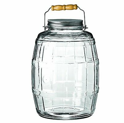 2.5 Gallon Glass Barrel Jar w/Lid Vintage Pickle Canister Large Handle Clear New