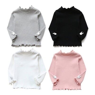Baby Kids Girl Sweater Ruffle Neck Long Sleeve Knitted Pullover Blouse Tops 2-7Y