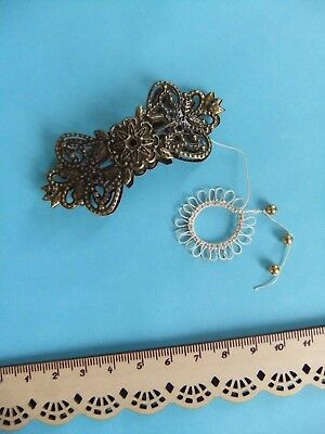 RARE* Antique? Large Ornate Tatting Shuttle Frivolite Bronze / Brass Lace RARE!