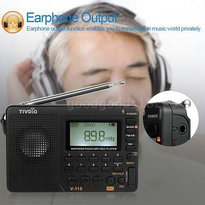 TIVDIO V-115 Portable AM/FM/FM Radio with Sleep Timer Bass Sound MP3 Player E1D8