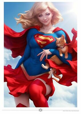 "Stanley Artgerm Lau ""Supergirl and Streaky"" Signed Premium Art Print"