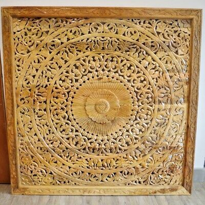 Indian Antique style Decorative Wall Panel Head Board Mango Wood hand Carved