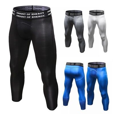 Men Thermal Compression Tight Base Layer 3/4 Pants Leggings Sports Gym Trousers