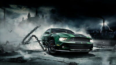 "008 Mustang - Ford Super Car Racing Car concept 24""x14"" Poster"