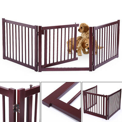 Wood Dog Pet Gate Indoor Barrier Free Standing Folding Safety Baby Gate Fence