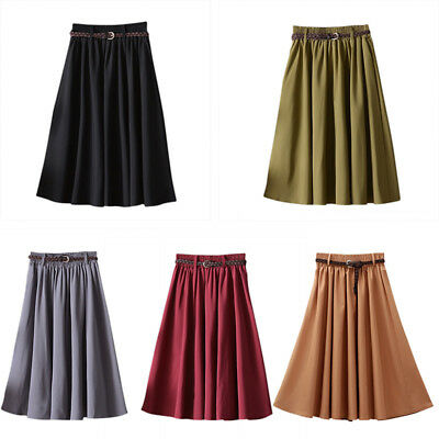 Vintage Women's High Waist Skater Flared Pleated Swing Long Skirt Dress W/ Belt