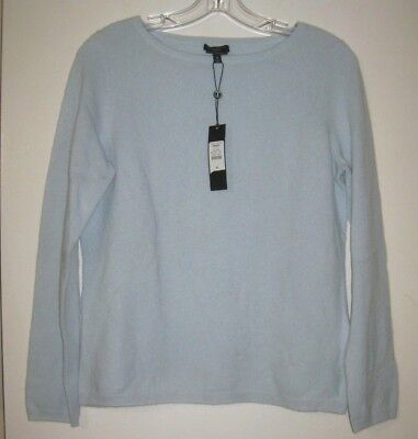 NEW Talbots Cashmere Sweater Sz PM Petite Medium Lt Blue Crewmeck Long Slvs NWT