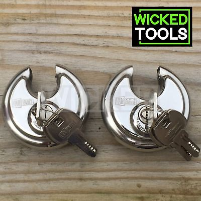 2 Van Vault Disc Lock Round Stainless Steel Security Discus Padlocks Keyed Alike