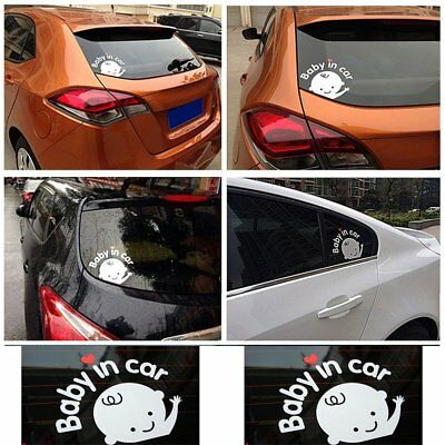 """Baby In Car"" Waving Baby on Board Safety Sign Cute Car Decal Vinyl Sticker FR1"