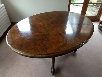 Victorian Burr Walnut Oval Breakfast Table Large Size