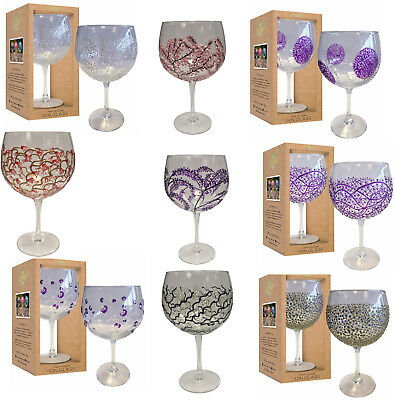 Sunny By Sue Gin Glasses Hand Painted Large Balloon Gin&tonic Gift