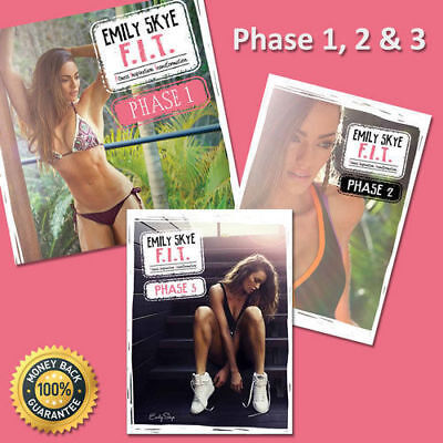 Emily Skye 28 Day Shred Plan Phase 1 & 2 F.I.T Fitness Workout Diet Guide FIT 30
