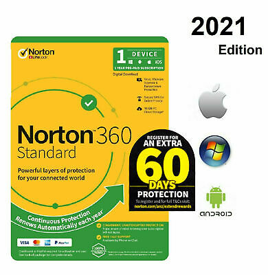 NEW Norton internet security STANDARD 2018 AntiVirus Window 8 10 1 PC DD KEY