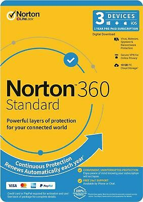 Norton Security Deluxe 2019 Latest 3 PCs 1 Year License Activation Key Code