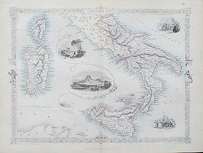 c1854 SOUTHERN ITALY Genuine Antique Map by Rapkin FREE POSTAGE WORLDWIDE