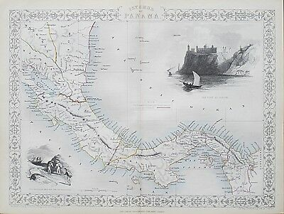 c1854 ISTHMUS OF PANAMA Genuine Antique Map by Rapkin FREE POSTAGE WORLDWIDE