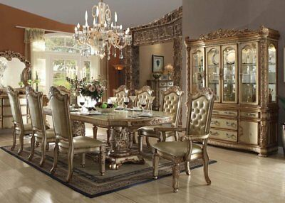 7 Piece Formal Dining Set Gold Finish With Leaf 6 Chairs and Table Furniture
