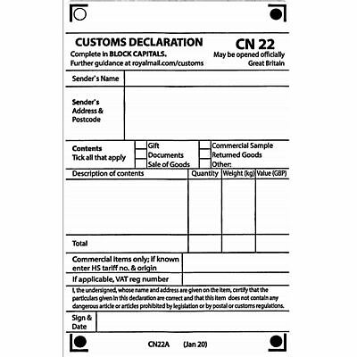 Self Adhesive CN22 Custom Declaration Forms 50, 100 or 250 Labels