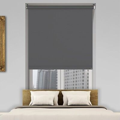BLACKOUT Roller Blind Dark Grey THERMAL  Made to Measure Easy to Fit