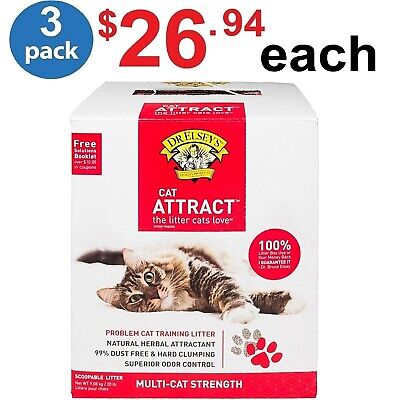 DR  ELSEY'S CAT ATTRACT Clay And NATURAL HERBS Multi-Cat Litter, 20 Lbs (3  Pack)