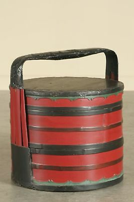 Lacquered and painted antique Chinese wedding basket, Kuang Hsu period, 1875