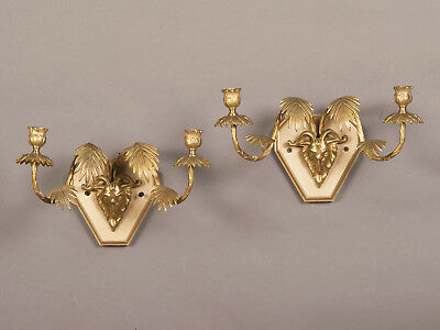 Pair of Vintage French Art Moderne Period Gilt Bronze Double Arm Sconces c. 1940