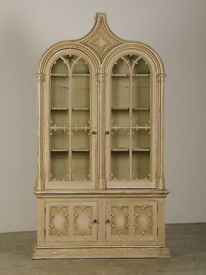 "Antique English Gothic Revival ""Strawberry Hill"" Painted Cabinet Bookcase 1840"