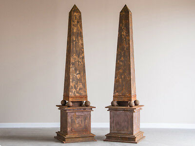 Pair of Enormous Vintage French Aged Metal Neoclassical Obelisks, circa 1950