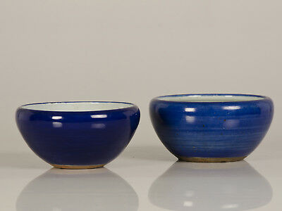 Pair Antique Chinese Cobalt Blue Glazed Ceramic Bowls Qing Dynasty circa 1850